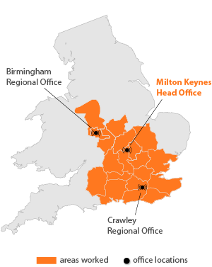 UK client area map with office locations